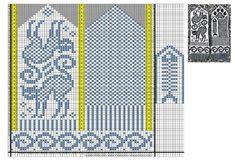"Photo from album ""Pirstines"" on Yandex. Knitting Basics, Knitting Charts, Knitting Patterns, Crochet Patterns, Mittens Pattern, Knit Mittens, Knitting Socks, Knitted Cat, Crochet Cross"