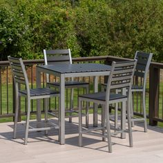 Attain a staggering appearance to your outdoor dining set when using this Elan Furniture Loft White Aluminum Outdoor Balcony Height Dining Set. Outdoor Patio Bar Sets, Outdoor Balcony, Outdoor Furniture Sets, Outdoor Living, Bar Furniture, Furniture Design, 3 Piece Dining Set, Dining Room Sets, Solid Wood Table Tops