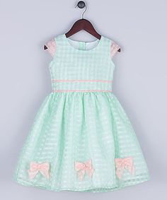Look what I found on #zulily! Mint Organza Gingham A-Line Dress - Toddler & Girls #zulilyfinds