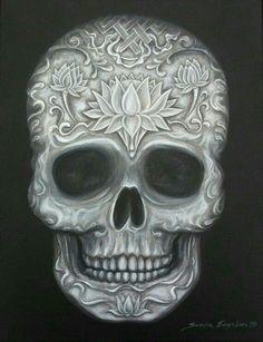 Black and White Carved Tibetan Skull Monochromatic Original Painting Crane, Sugar Skull Tattoos, Sugar Skulls, Day Of The Dead Skull, Skulls And Roses, Hippie Art, Skull Design, Pop Surrealism, Up Girl