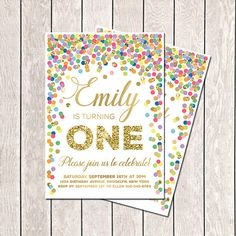 First Birthday Invitation Rainbow Invite Confetti Invitation Printable 1st Birthday Invite Colorful Invitation Any Age Rainbow Birthday on Etsy, $11.25 AUD