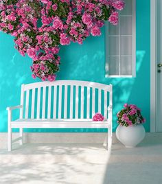 Front view of a wooden white door on a blue house with window. Beautiful roses and bench on the porch. Outdoor Spaces, Outdoor Living, Outdoor Decor, Turquoise Cottage, Pintura Exterior, White Doors, Spring Home, Porch Swing, Front Porch