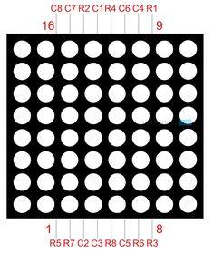 Arduino 8x8 LED Matrix Pin Diagram