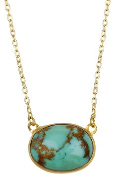 Halleh 18kt gold turquoise necklace $1235