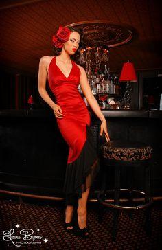 Red and Black Taffeta Salsa Dress