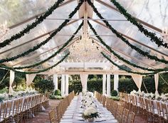 Clear Outdoor Tent With Greenery