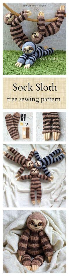 Sock Sloth Plushie Free Sewing Pattern 2019 Smie the sock sloth. Free pattern The post Sock Sloth Plushie Free Sewing Pattern 2019 appeared first on Socks Diy. Sock Crafts, Cute Crafts, Crafts To Make, Arts And Crafts, Easy Crafts, Creative Crafts, Sewing Patterns Free, Free Sewing, Free Pattern