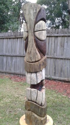 Catalyst customs tiki Tree Carving, Wood Carving Art, Wood Art, Twig Furniture, Handmade Furniture, Modern Furniture, Furniture Design, Wood Sculpture, Sculptures