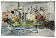 """Our Lynne Borst painting is one of my favorites.  Here is another I found online. I like it just as much.   Oil painting of the Chicago skyline, including the then recently completed John Hancock Building (1968) signed """"Lynne Borst."""" Displayed in original slim wood frame with a metal edge."""