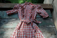 checkered bohemian ruffle dress $20 beautiful and hippie #western #country #cowgirl I'd wear it with boots and a cowboy hat!