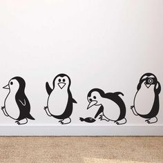 child room Cute Little Penguin Wall Decals Simple Wall Paintings, Creative Wall Painting, Wall Painting Decor, Kids Wall Decor, Wall Art Decor, Wall Art Prints, Art Diy, Diy Wall Art, Wall Stickers Home