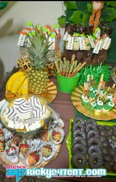 Pretzels, donuts and more at a jungle animals Baby Shower!  See more party ideas at CatchMyParty.com!