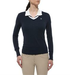 Ariat Arena Sweater Created in flat knit Merino wool, the Arena sweater remains comfortable and fashionable. Featuring a v-neck front with ribbed cuffs and bottom, this sweater is sure to impress with the addition of contrasting elbow patches for a fashion forward appearance. $79.99 *Prices valid May 1, 2014 - August 31, 2014. www.greenhawk.com
