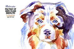 Watercolor Australian shepherd @creativework247