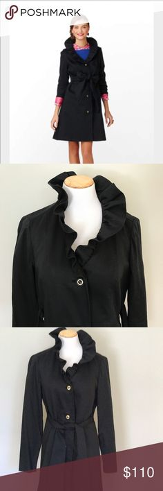 """Lilly Pulitzer """"Kelli"""" ruffled collar coat Lilly Pulitzer """"Kelli"""" coat with ruffled collar in size 10 in black. Luxe and lightweight and so versatile. Four buttons. Attached belt can be worn in the front or back or not at all. The gathering in the back is so gorgeous. Excellent used condition. Worn sporadically but never for very long. 100% cotton shell. Gorgeous pink lining in 50/50 acetate/nylon. Lilly Pulitzer Jackets & Coats Trench Coats"""