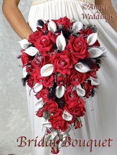 Superbe soie de la CASCADE HEATHER, rouge ensemble complet Bridal Bouquet fleurs mariage plumes demoiselle d'honneur bouquets marié boutonnière corsage