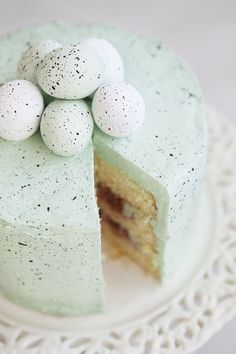 Beautiful Speckled Egg Cake with palest mint frosting