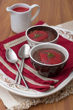 Chocolate tapioca with almond and strawberry coulis with lime by Joana