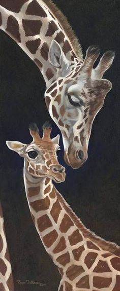 """""""Motherly Love Giraffe"""" by Roger Dullinger: From teh original oil painting on masonite panel. A mother giraffe shows affection for her newborn calf."""