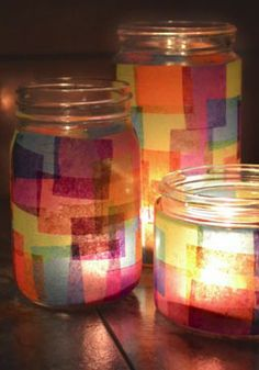 It's super easy to make faux stained glass with this tutorial at Mom Spark. I good project for both kids and adults alike! jar crafts for kids crafts for kids mason jars Mason Jars, Mason Jar Crafts, Crafts With Glass Jars, Glass Craft, Recycled Jars, Recycled Crafts, Paper Crafts For Kids, Fun Crafts, Light Crafts