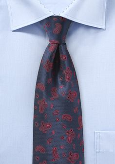 Navy and Red Paisley Mens Tie