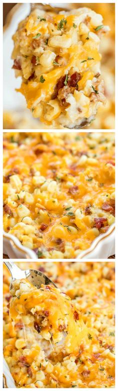 The BEST Corn Casserole ~ Seriously delicious... Creamed corn loaded with cheddar and bacon - SO good!!