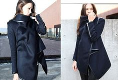 Long Irregular Thickening Woolen Overcoat