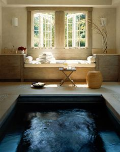 Gorgeous home spa~okay i love the idea of having a home spa nothing wrong with some self-nurture and self-care. obviously it'd be a different layout and color schemes but I love the idea of a home spa like this :) Dream Bathrooms, Beautiful Bathrooms, Small Bathroom, Master Bathroom, Relaxing Bathroom, Bathroom Modern, Bathroom Spa, Design Bathroom, Bathroom Interior