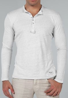 Jersey Linen Fitted Long Sleeve Henley T-Shirt in White | Shop | Claudio Milano