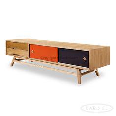 Color Pop Mid-century Modern Media Cabinet, Oak/Orange & Charcoal Doors |