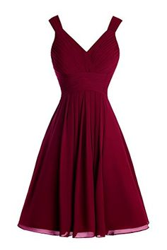 Bess Bridal Womens Short Mini A Line Bridesmaid Dresses with Straps Burgundy ** More info could be found at the image url.