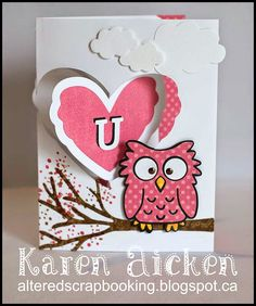 Karen Aicken made this adorable Heart Pivot card using Poppy the owl for the Karen Burniston Designer Challenge. Love how she used the All Seasons Tree as a branch. Visit Karen's blog to see the inside of the card. http://www.alteredscrapbooking.blogspot.ca/2014/08/you-make-my-heart-happy.html. And don't forget to check out our blog tomorrow to see all the cards for the challenge.