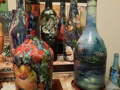 #DecorByTuckerDemps  Original oils on glass bottles by Impressionist FineArtist TuckerDemps.