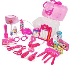 Girls Role-playing Doctors Toy 28 PCS Of Suits With Nurse Cap Stethoscope Injections ** This is an Amazon Affiliate link. Check this awesome product by going to the link at the image.