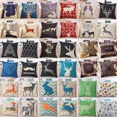 18'' Deer Animal Print Linen Cotton Throw Pillow Case Cushion Cover Home Decor