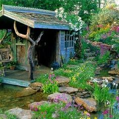 Whimsical garden shed & stream