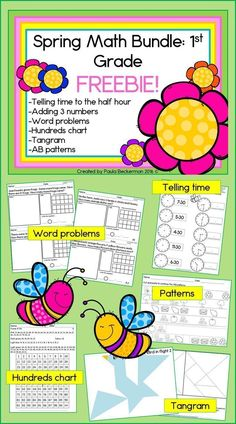 Spring Math Bundle For First Grade FREEBIE! Telling time, adding 3 numbers, word problems, hundreds chart, tangram and AB patterns, all just right for 1st grade! #freebie #1stgrade #words #teachingmath
