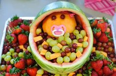 Watermelon Fruit Salad Baby The Mandatory Mooch Baby Shower Fruits Bassinet . Baby Shower Fruit, Baby Fruit, Baby Boy Shower, Cut Watermelon, Watermelon Carving, Watermelon Ideas, Budget Baby Shower, Baby Shower Themes, Shower Ideas