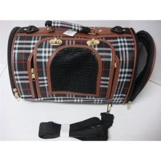 "14x8x8"" Puppy Dog Cat Kitten Pet carrier bag travel crate cage Plaid Brown Price: $18.95"