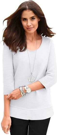 Classic Inspirationen Pullover in tollem Lagenlook ab 34,99€. Pullover mit angesetztem Blusenstoff, Baumwolle, Figurumschmeichelnde Form, 3/4-lange Ärmel bei OTTO