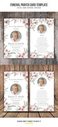 Funeral Program Template X Funeral Card Template  Stace Face