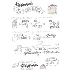 Letter Lovers: donnerletter zu Gast im Lettering Interview - Letter Lovers donnerletter: Handlettering Rezept: homemade Pancakes La mejor imagen sobre diy furni - Recipe Book Design, Just Add Magic, Cupcake Videos, Homemade Pancakes, Sketch Notes, Recipe Cards, Scrapbook Cards, Printing On Fabric, Interview