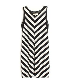 Black and White Diagonal Stripe Splicing Dress - Party Dresses - Dresses - Clothing