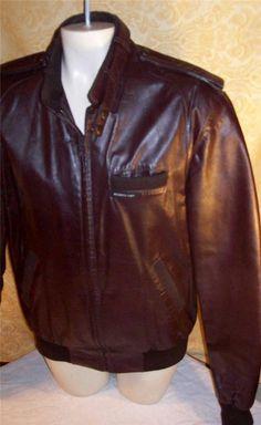 MEMBERS ONLY Cafe Racer motorcycle biker vintage men LEATHER coat 40 40L long