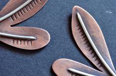 Abstract Leaf Earrings Minimal Botanical Earrings by ErinAustin
