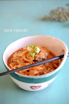 Kimchi Butter Ramen in a bowl- kimchi and butter makez everything taste good!