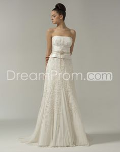 Exquisite Strapless A-line Floor-length Court Lace Trimmed Wedding Dresses