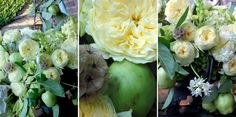 Apple green and Lemon Yellow Arrangement :  APPLE BRANCHES, CLUMP MOSS, DAVID AUSTIN GARDEN ROSES, DUSTY MILLER, GRASSES, SCABBIOSSA PODS, TREE OF HEAVEN PODS, WHITE BRODEIA, YELLOW CHINCEHRINI