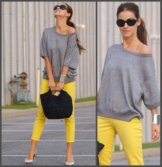 Grey and yellow <3: Vintage Blouse, Furla Bag, Zara Pants