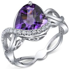 Swirl Design 3.00 Carats Heart Shape Amethyst Ring in Sterling Silver Rhodium Finish Size 5 to 9 -